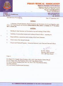 Notice of Zonal Chairmen, Branch Presidents & Secretaries Meeting on 5 Nov. 2017 at Indore